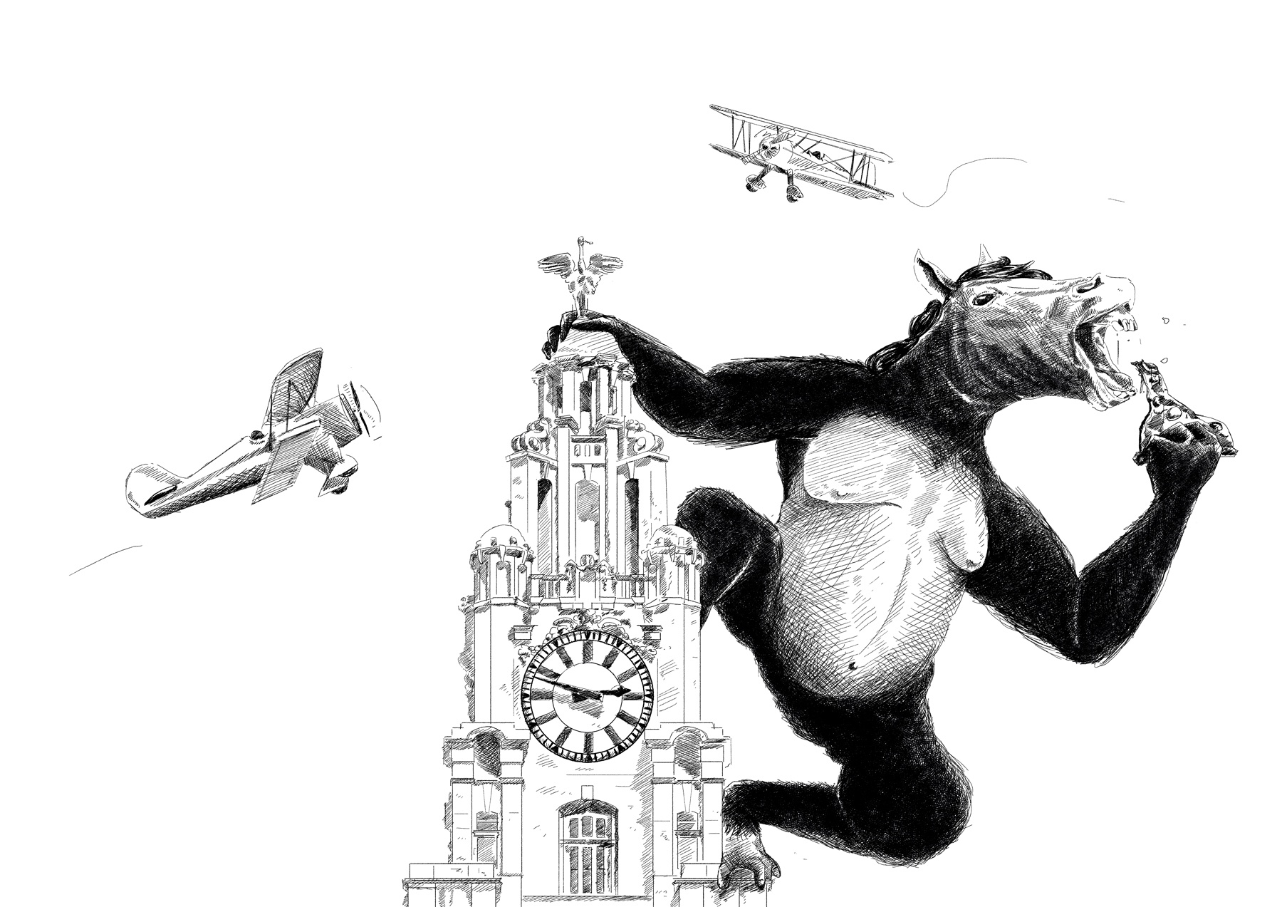 King Kong illustration the Liver building
