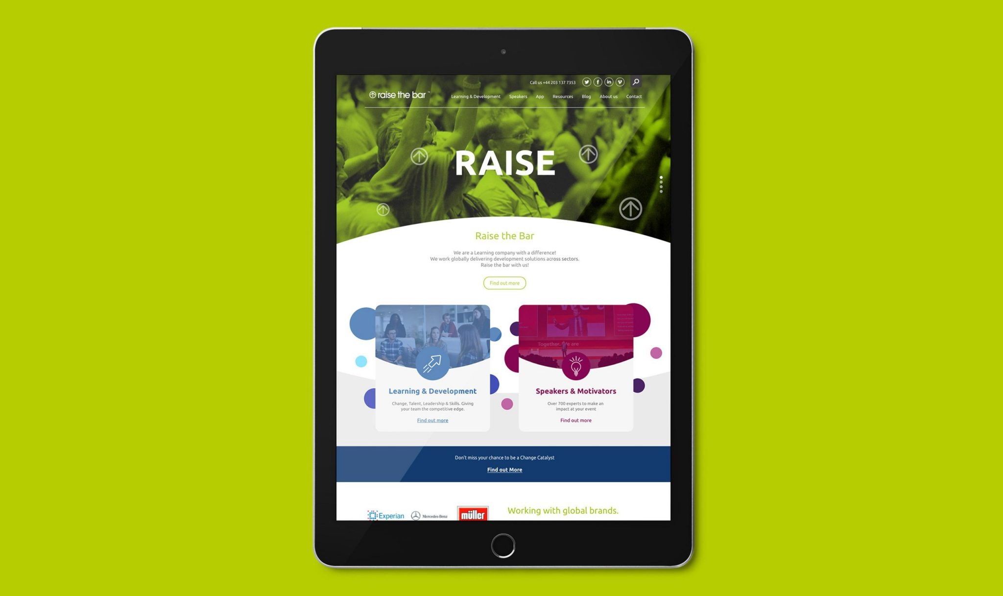 Raise the Bar website development tablet view